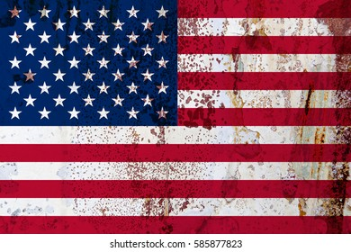 USA flag on a rusty metal