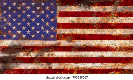 USA flag on rusty metal background texture