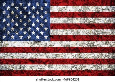 USA flag on stone background