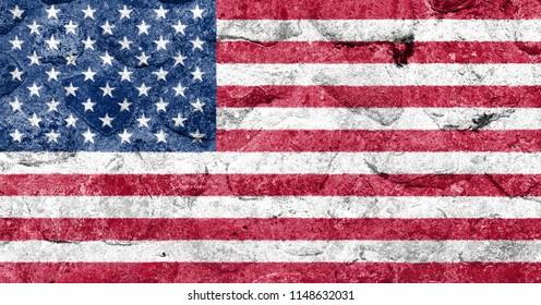 USA Flag on a stone wall
