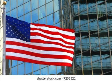 usa flag on windows building background