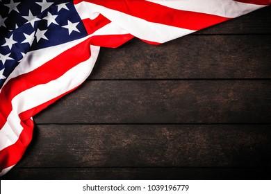 USA flag on wood background