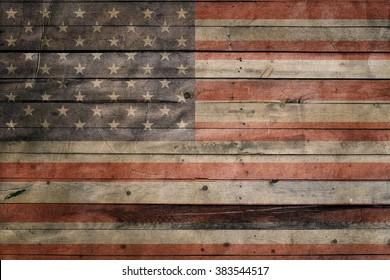 Usa flag on wood background. Grunge wall