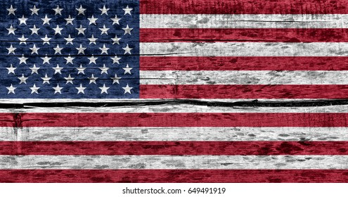 USA flag on wood texture background