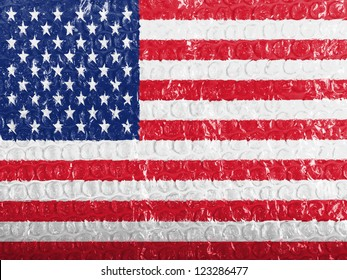 The USA flag  painted on bubblewrap