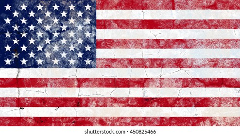 The USA flag painted on grunge wall