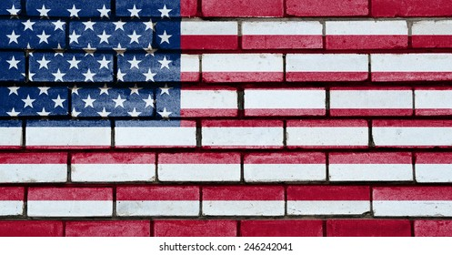 USA flag painted on old brick wall texture background