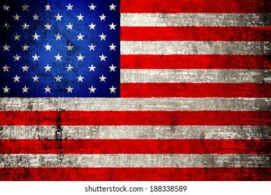 USA flag painted on wood background
