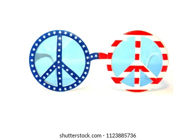 USA Flag Peace Sign Sun Glasses. Peace Sign Fashion Sunglasses. Isolated on white. Room for text.