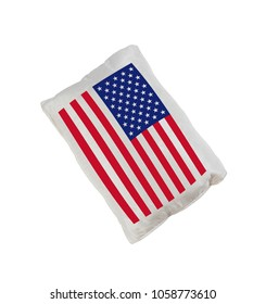 USA flag pillow isolated on white background