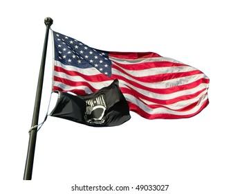 USA flag with POW/MIA flag