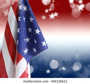 USA flag, red white and blue circles