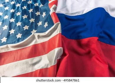 Usa flag and Russia flag