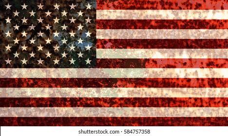 USA flag rusty metallic background texture