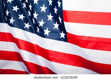 USA flag, selective focus,