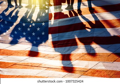USA Flag and shadows of People, concept picture