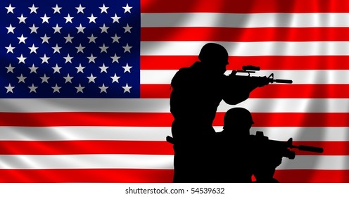 USA Flag with soldier