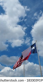 USA Flag and Texas lag waving together
