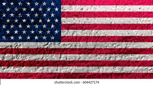 USA Flag: Vintage American flag with Grunge Texture
