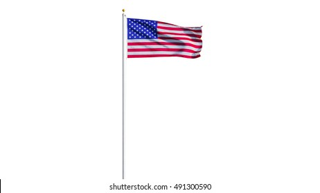 USA flag waving on white background, long shot, isolated with clipping path mask alpha channel transparency