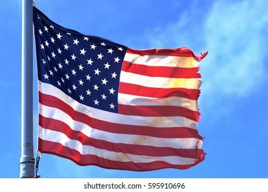 usa flag wind