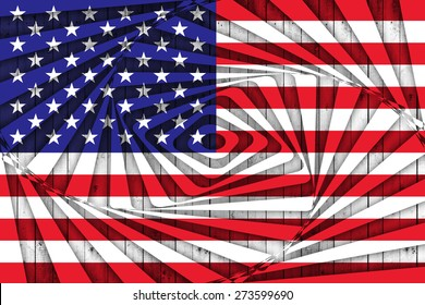 USA flag of wood with abstract background