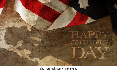 Usa Flag and Wood. Columbus Day