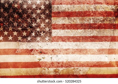 USA flog overlay on old color skin on cement wall texture for background use