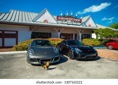 USA. FLORIDA. ISLAMORADA. FEBRUARY 2019: Sign Islamorada fish company, popular market and restaurant.