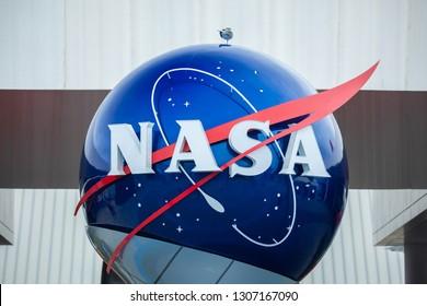 USA. FLORIDA. KENNEDY SPACE CENTER. FEBRUARY 2019: Nasa logo.
