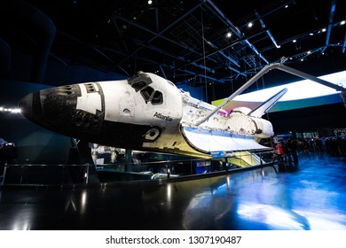 USA. FLORIDA. KENNEDY SPACE CENTER. FEBRUARY 2019: Space center with rockets, historical memorable place.