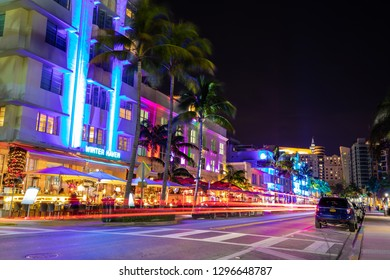 USA. FLORIDA. MIAMI BEACH 2019: Night view of Street Ocean Drive, Art Deco Building
