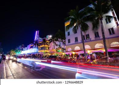 USA. FLORIDA. MIAMI BEACH 2019: Night view of Street Ocean Drive, Art Deco Building