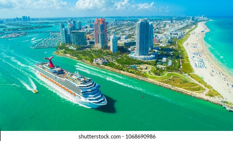 USA. FLORIDA. MIAMI BEACH. APRIL, 2018: Cruise ship entrance to Atlantic Ocean, from Miami port.