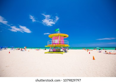 USA. FLORIDA. MIAMI BEACH. APRIL 2018: Miami Beach in South Beach with new lifeguard tower and coastline with colorful cloud and blue sky. Florida. USA.