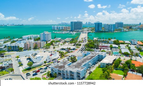USA. FLORIDA, MIAMI BEACH. AUGUST 2018: Aerial view of Miami Beach, Art deco buildings. Florida, USA.