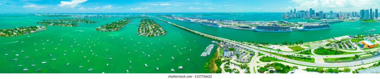 USA. FLORIDA. MIAMI BEACH. AUGUST 2018: Panorama view of Downtown Miami and cruise port.