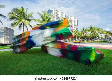 USA, FLORIDA, MIAMI BEACH - DECEMBER - 2, 2015: ART BASEL MIAMI IN COLLINS PARK SOUTH BEACH.