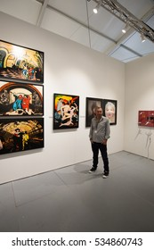 USA, Florida, Miami Beach, December 4, 2016. Art Basel week. Biggest art exhibition in the world. Editorial use only