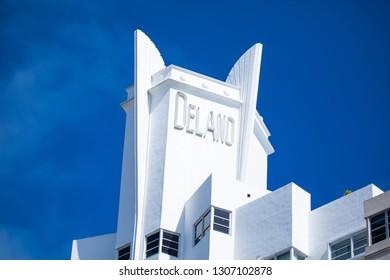 USA. FLORIDA. MIAMI BEACH. FEBRUARY 2019: Art deco historical hotel Delano.