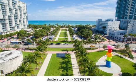 USA, Florida, Miami Beach, FEBRUARY - 1 , 2017. Art Basel week. Collins Park, South beach.