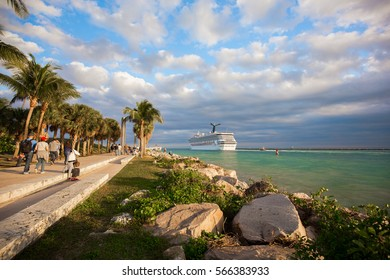 USA. FLORIDA. MIAMI BEACH. JANUARY 28, 2017: Cruise ship enter to Atlantic ocean from Government Cut canal.