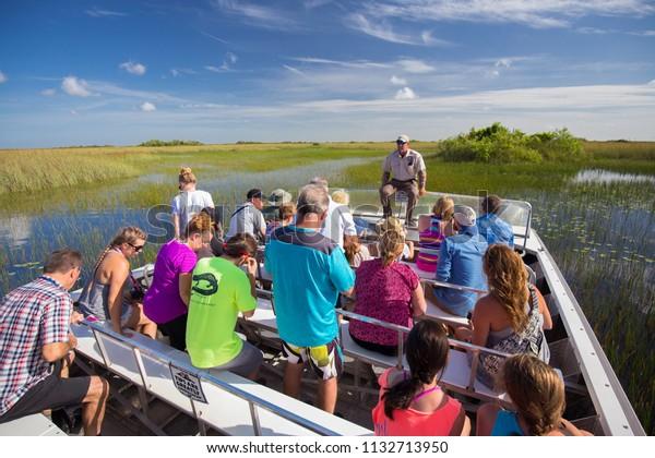 USA. FLORIDA. MIAMI BEACH. JULE 2018: Everglades airboat tour.