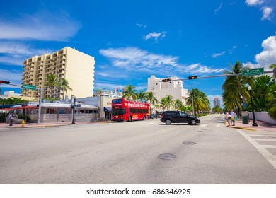 USA. FLORIDA. MIAMI BEACH, JULY, 2017: The streets of the city south beach.