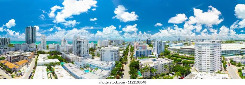 USA. FLORIDA. MIAMI BEACH. JUNE 2018: Panoramic view of South Beach. Panorama 180/360.