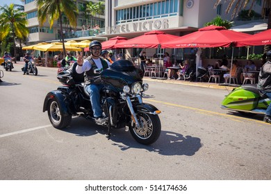 USA, FLORIDA. MIAMI BEACH. NOVEMBER 11, 2016. Veteran's Day Parade on famous Ocean Drive in South Beach, Miami. Editorial use only