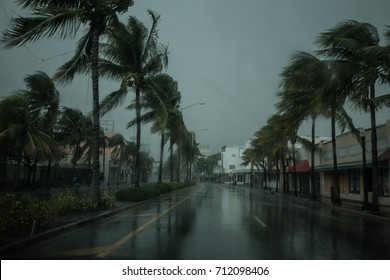 USA. FLORIDA. MIAMI BEACH, SEPTEMBER 2017: City of Miami Beach, hurricane Irma. Florida. USA.