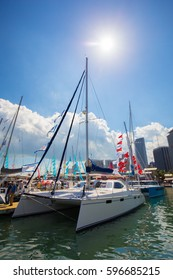USA. FLORIDA. MIAMI. FEBRUARY 17, 2017: Miami International Boat Show. Downtown Miami, Bayside.