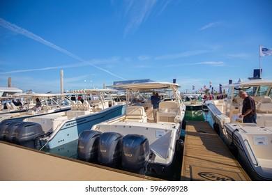 USA. FLORIDA. MIAMI. FEBRUARY 17, 2017: Miami International Boat Show. Downtown Miami, Key Biscayne