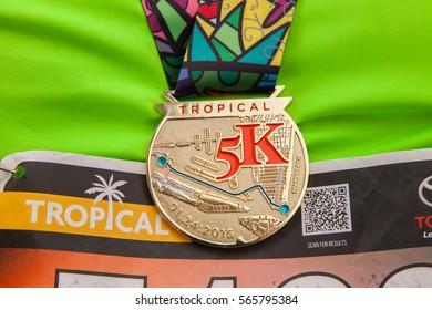 USA. FLORIDA. MIAMI. JANUARY - 24, 2015: Marathon in Miami beach. Tropical 5K